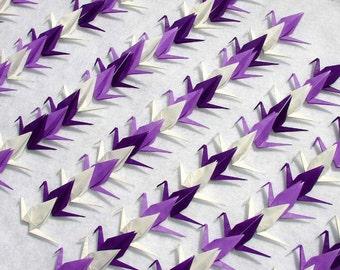 Origami Cranes - 100 small Purple and White Origami Paper  Cranes