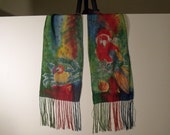 Christmas Parrot or Macaw Hand dyed Flat Crepe Silk Scarf, by: Tammi Vaughan