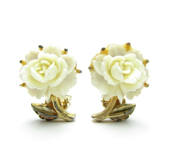 Ivory Rose Earrings Vintage Clip On Faux Ivory Roses, Gold Leaves