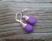 Purple and Rose wire wrapped Earrings