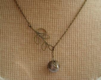 Aqua Ice Blue Pearl Lariat Necklace