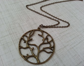 Antique Brass Tree of Life Necklace