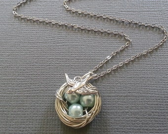 Baby Blue Pearl Bird's Nest Necklace