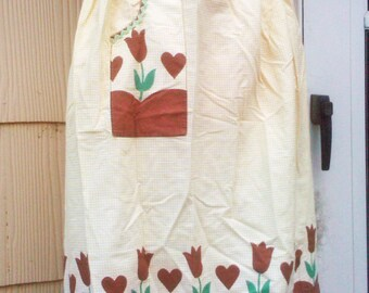 Vintage 1940s Apron Yellow Brown Rockabilly Housewife