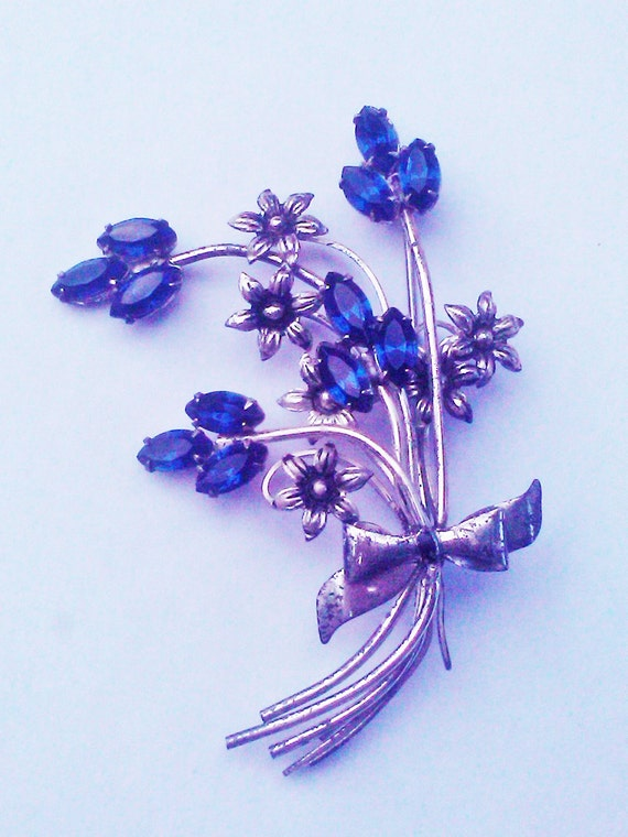 Vintage 1940s Brooch  Blue Rhinestones Flower Bouquet Sterling Silver