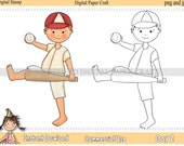 Digital Stamp Little Boy 2 Softball or Baseball   INSTANT DOWNLOAD