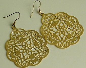 SALE - Gold color -  Big bold bohemian, filigree earrings, lace filigree, filigree stamping