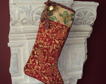 Christmas Stocking--Red with gold Angel