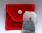 Tea Bag Pouch, Red Tea Bag Wallet, Tea Organizer, Travel Tea Organizer, Travel Tea Purse, Red Tea Purse, Small Pouch, Valentines Gift