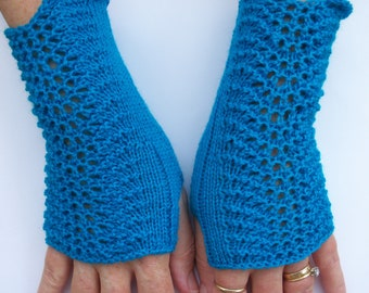 Fingerless Gloves, Fingerless Mitts, Ladies Fingerless Mitts, Arm Warmers, Wrist Warmers, Ladies Lace Gloves, Blue Lacey Gloves, Teen Gloves