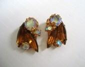Fantastic Clip Earrings Rhinestones Honey Topaz Color Iridescent Color Rhinestones
