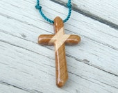 Wood Cross Pendant - Cherry & Maple - Jewelry for Men