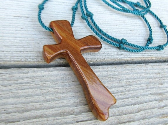 Wood Cross Jewelry - Australian Cypress - Hand Crafted Necklace