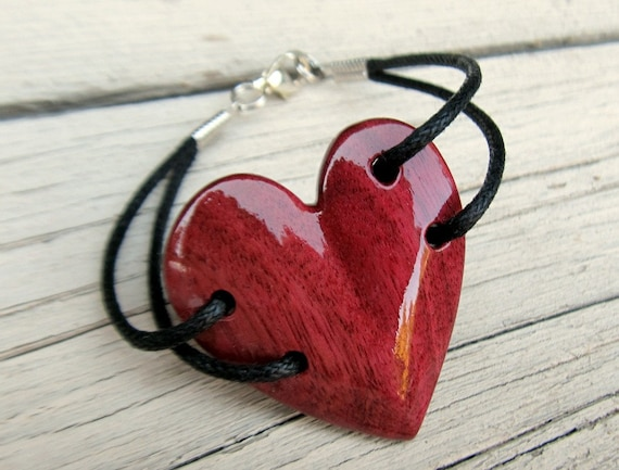 Wood Heart Bracelet - Brazilian Purpleheart - Womens Jewelry