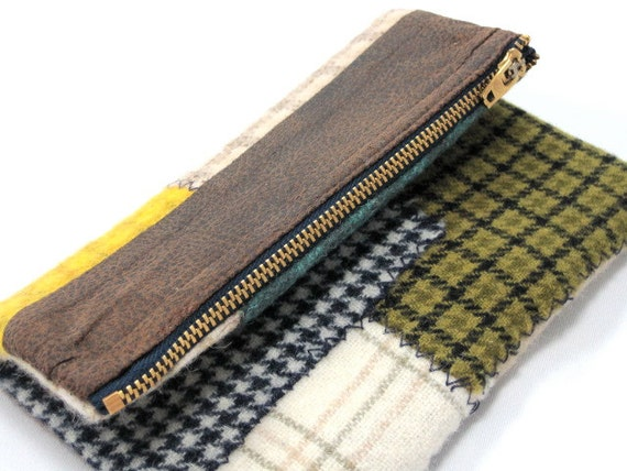Clutch, Wallet, Wool, Faux Leather, Patchwork
