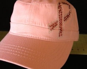Pink Ribbon Embellished Military Style Cotton Hat - Breast Cancer Awareness