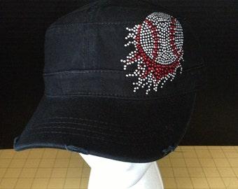 Flaming Baseball Rhinestone Embellished Military Style Cotton Hat