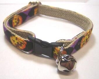 Handmade Hemp Cat Collar -Jack-o-Lantern