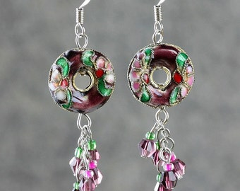 Asian plum cloisonne chandelier hoop earrings Bridesmaid gifts Free US Shipping handmade Anni designs