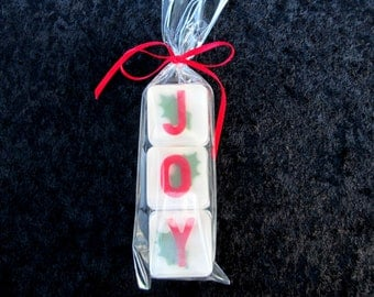 Holidays - Christmas Joy Party Favor or Gift Tag, glycerin soap