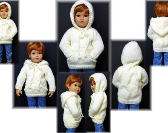 "Bulky Knitted Hooded Sweater PATTERN for 18"" Kidz N Cats  Sent PDF Format"