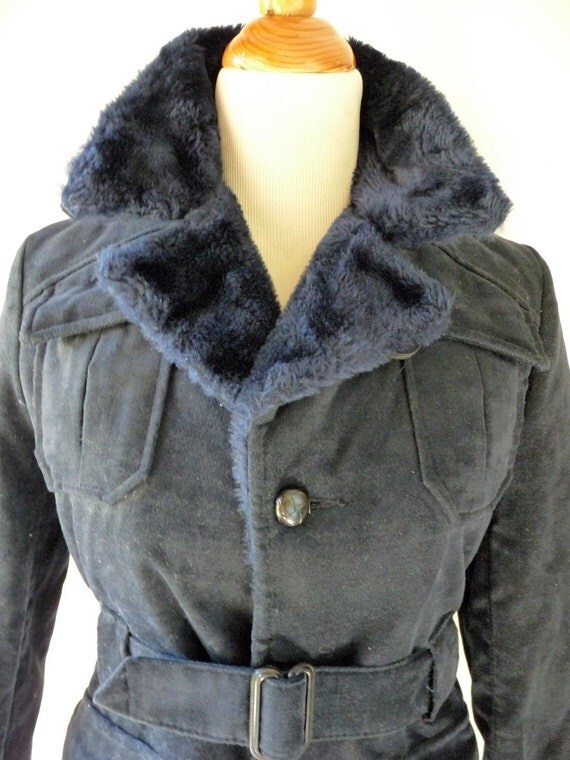 1970s Belted Pea Coat By Sears Womens Size Small in Navy Blue
