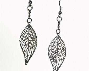 Delicate Black Leaf Earrings - Dangling Petite and Feminine Black Leaves Earrings on Black Ear Wire
