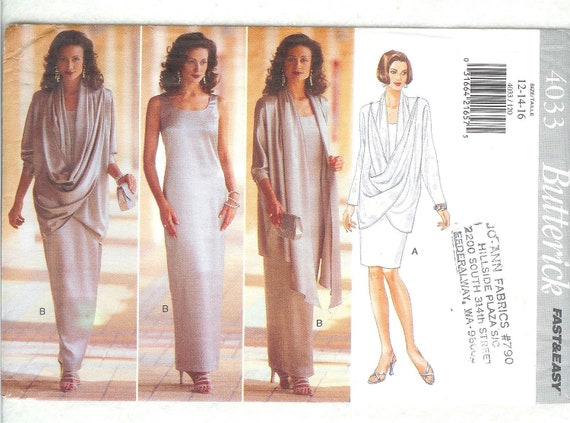 Butterick 4033 UNCUT Evening Gown and Loose Fitting Cover Up Sizes 12 to 16