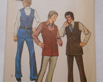 Simplicity 9737, Teen Boys, size 16, pants, vest, bell bottoms