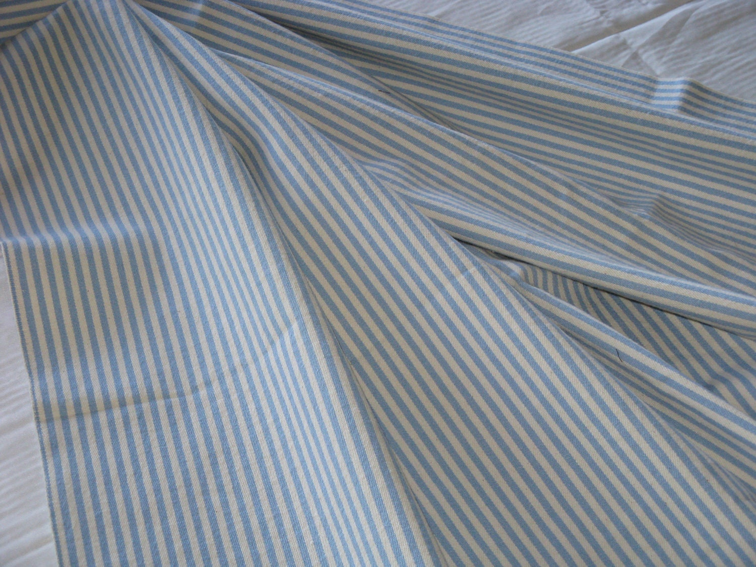 Vintage ticking fabric cotton light blue and white stripes for Ticking fabric