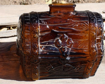Vintage Amber Glass Pirates Treasure Chest Bank