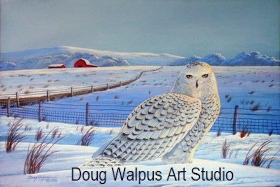 Snowy Owl, Bird Print, Acrylic, Wildlife, Nature, Art, Winter Scene