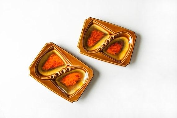 Mid Century Ceramic Ashtrays Mustard Brown Orange Home Decor