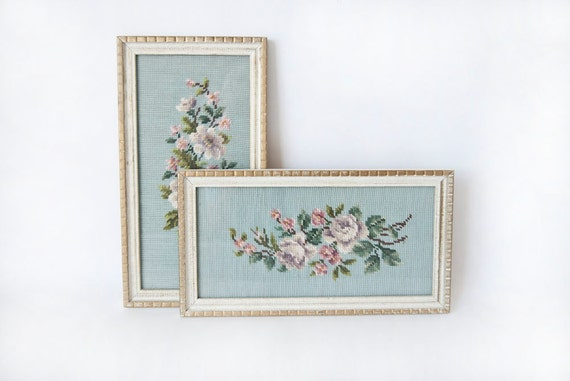 Floral Needlepoint Framed Pictures Cottage Nursery Decor