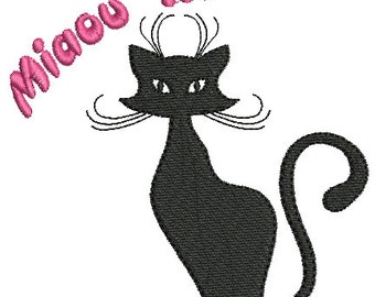 Embroidery design machine cat instant download