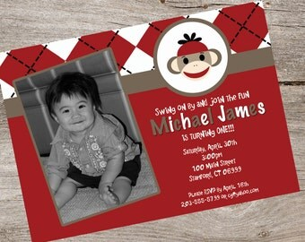 Red Sock Monkey Invitation with Photo