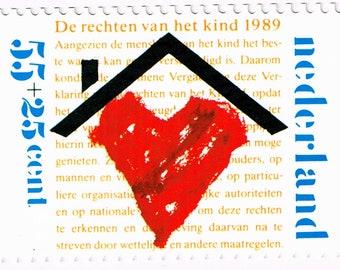 1989 Nederlands 55 & 25 Kinderpostzegel Stamp with Card, Netherlands Kinderpostzegelactie