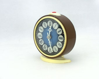 Vintage alarm clock, brown / blue clock, made in Russia 70s