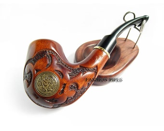 "New Gift Set ""NORDIC"" Wood pipe and Wooden Stand, Tobacco Pipe/Pipes Smoking Pipes. Handcrafted wooden pipe, Best Price in FPS"
