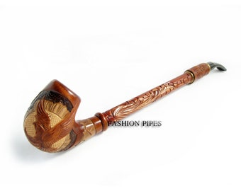 Churchwarden Wooden Pipe Decorated with Leather. US HAWK Tobacco Pipe, Handcrafted Pipe of Pear Wood 13'', Designed for pipe smokers