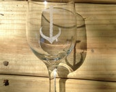 Etched wine glass nautical wine glass anchor