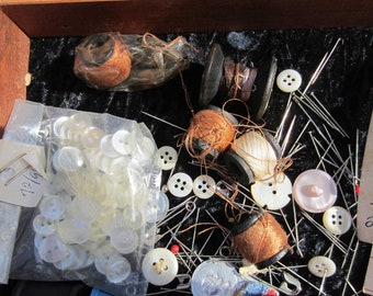 Vintage Sewing Notions in cigar box