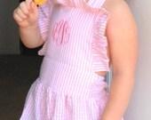 Vintage style sunsuit, monogrammed pink seersucker