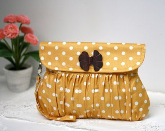 Polkadot clutch mustard yellow and white, pleated wristlet, gathered clutch