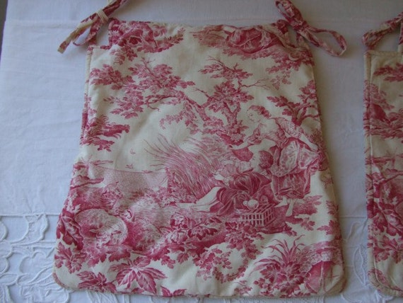 A pair of vintage French toile de jouy cushion, seat covers.  Country cottage chic.