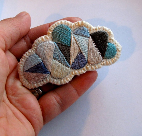 Gray cloud geometric brooch hand embroidered with a silver lining