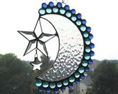 Stained Glass Art|Suncatcher|Moon and Stars|Celestial|Moon and Stars Suncatcher|Blue|Clear|Art and Collectibles|Handcrafted|Made in USA