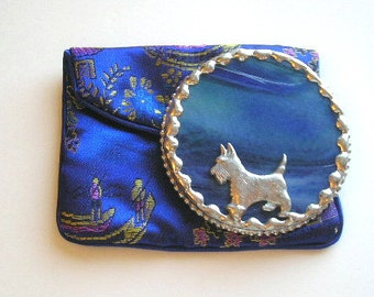 Stained Glass Purse Mirror|Pocket Mirror|Scottie|Scottie Dog|Scottish Terrier|Blue|Bath & Beauty|Makeup Tool|Mirror|Handcrafted|Made in USA