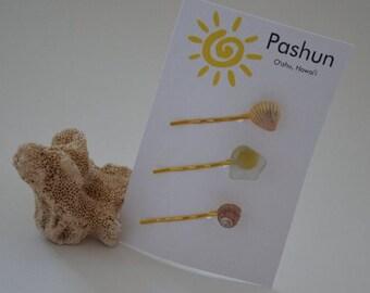 Seashell Hair Accessories ... Shell Hairpin Set of Three (0504)