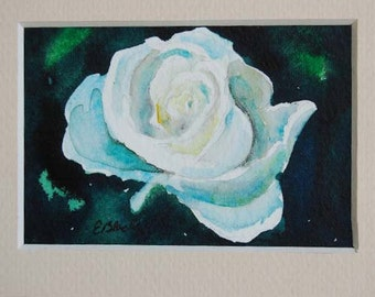 watercolor ORIGINAL Honor Rose flower white ACEO watercolour